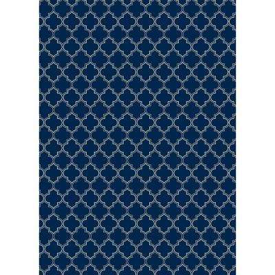 Quaterfoil Design 5ft x 7ft blue & white Indoor/Outdoor vinyl rug.