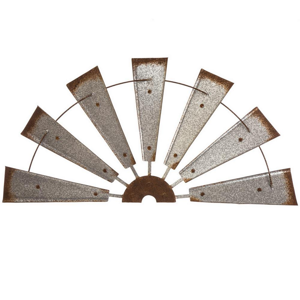 L Galvanized Farmhouse Half Wind Spinner Wall Decor