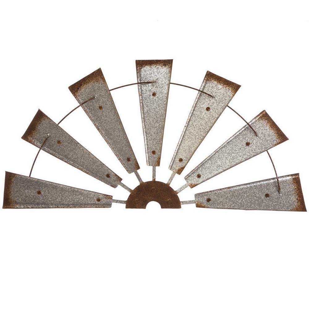 32 in. L Galvanized Farmhouse Half Wind Spinner Wall Decor
