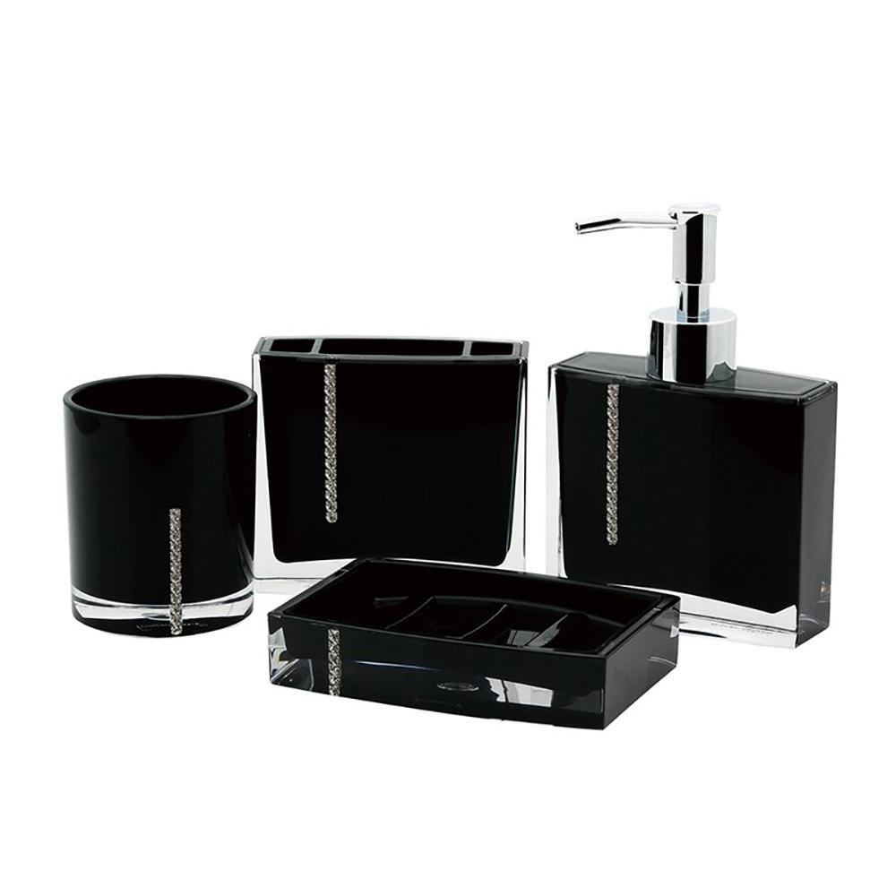 Cristal 4-Piece Bath Accessory Set in Black