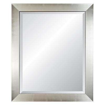 Silverstone 29 in. x 35 in. Silver Framed Wall Mirror with Black Trim