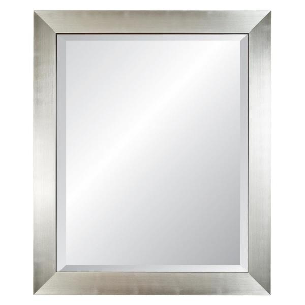 Medium Rectangle Silver Beveled Glass Contemporary Mirror (35 in. H x 29 in. W)