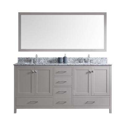 Caroline Madison 72 in. W Bath Vanity in Cashmere Gray with Granite Vanity Top in Arctic White with Sq. Basin and Mirror