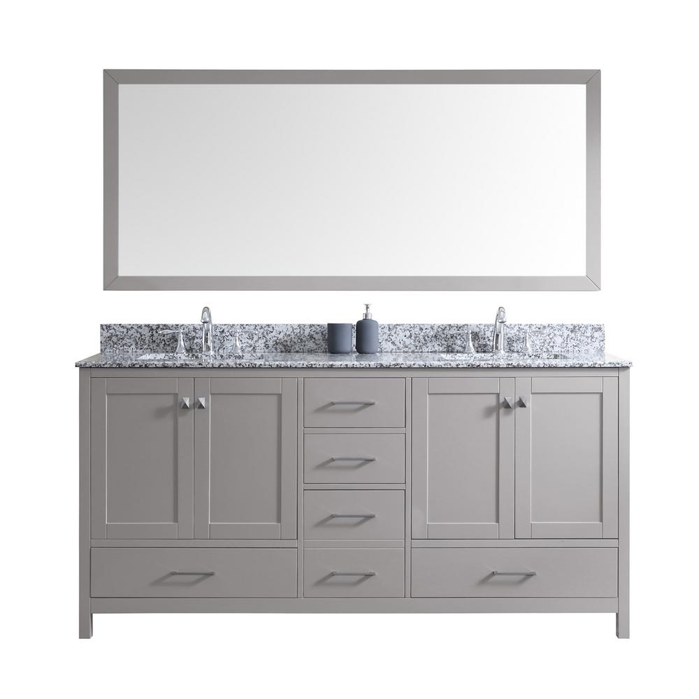 Virtu USA Caroline Madison 72 in. Vanity in Grey with Granite Vanity Top in Arctic White with White Square Basin and Mirror