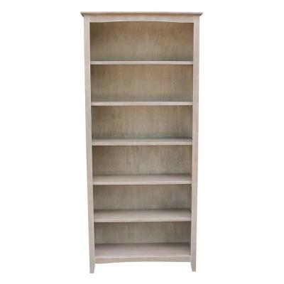 72 in. Weathered Gray Taupe Wood 6-shelf Standard Bookcase with Adjustable Shelves