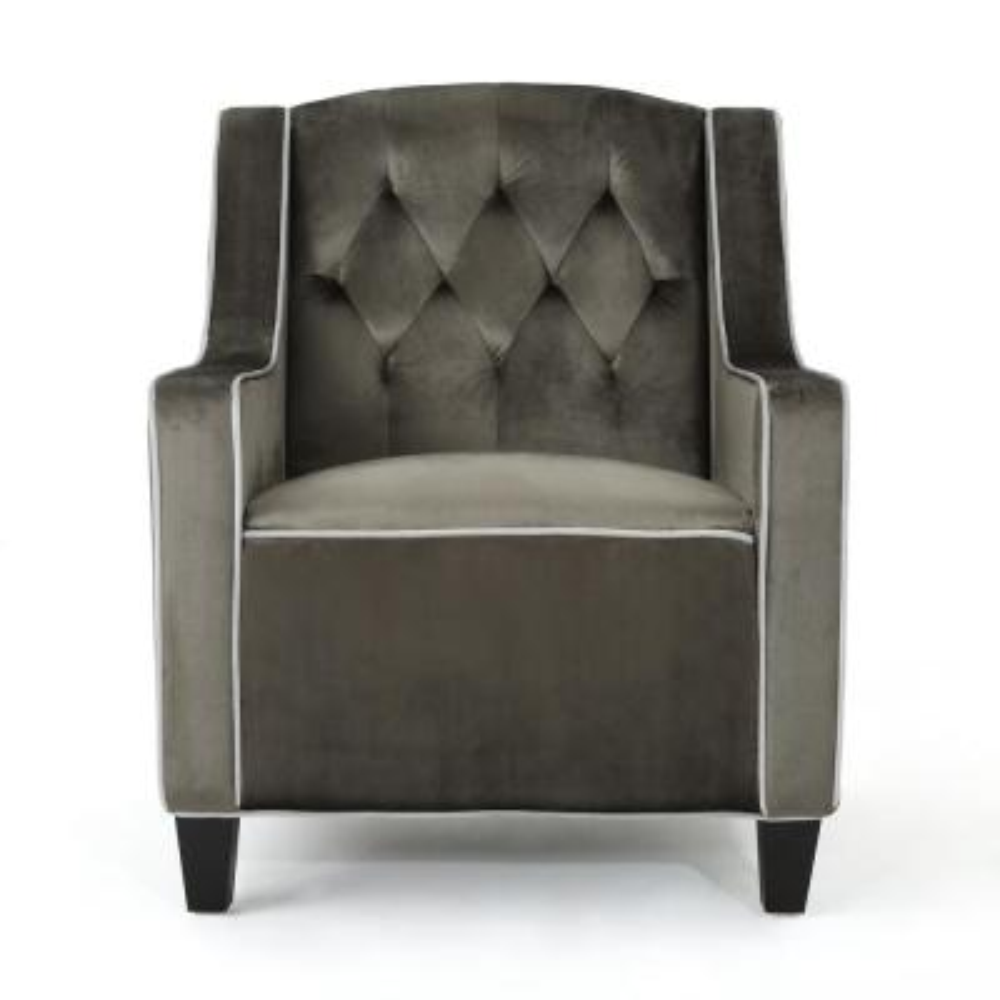 Giada Grey, Horizon Grey, and Dark Brown Velvet Club Chair