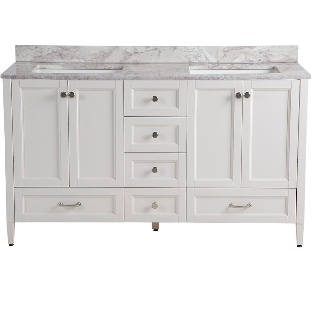 Home Decorators Collection Claxby 61 in. W x 22 in. D Bathroom Vanity in Cream with Stone Effects Vanity Top in Winter Mist with White Sink