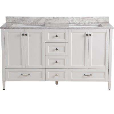 Claxby 61 in. W x 22 in. D Vanity in Cream with Stone Effects Vanity Top in Winter Mist with White Basin