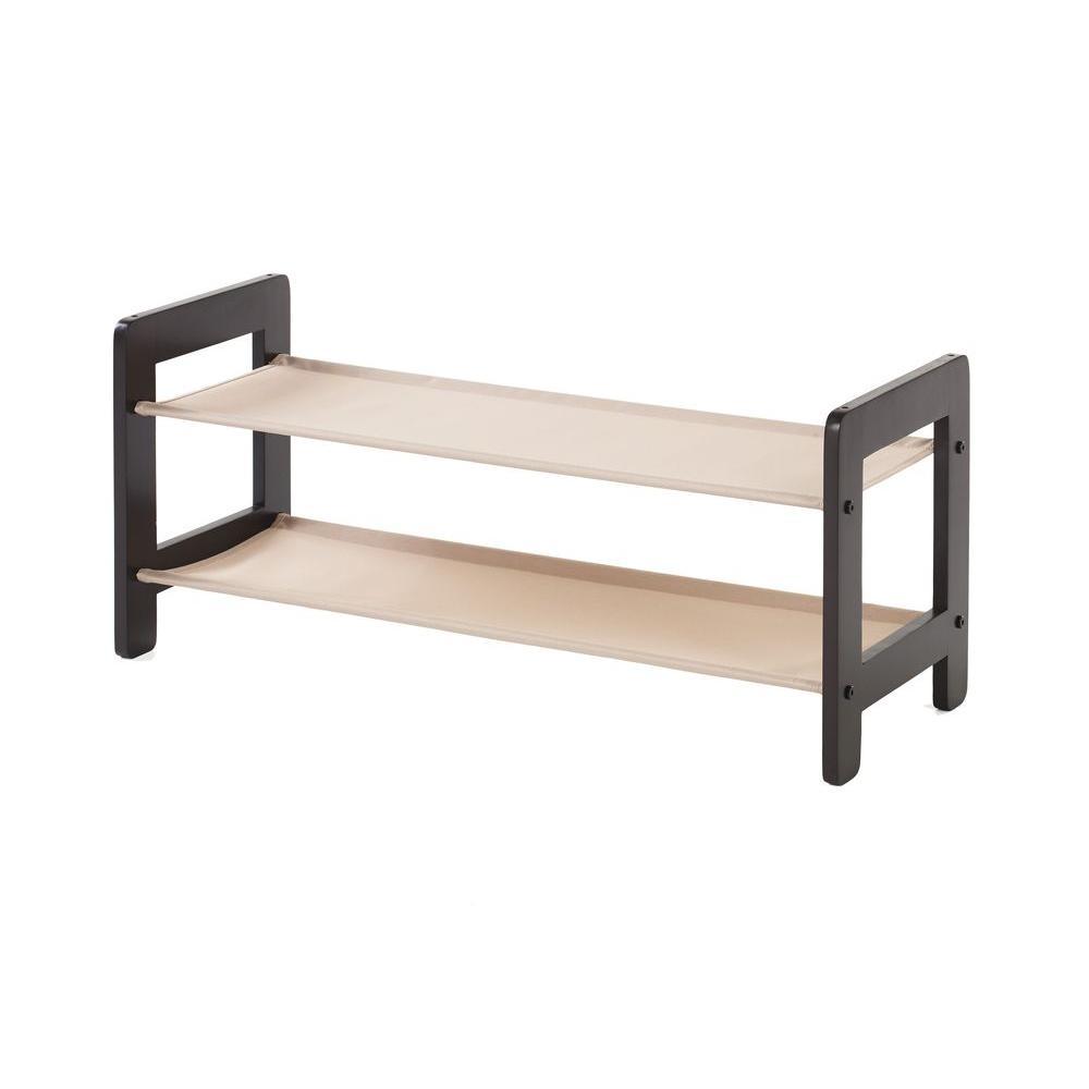 2-Tier 8-Pair Wood Stackable Shoe Organizer