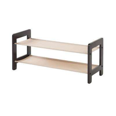 2-Tier Wood Stackable Shoe Rack