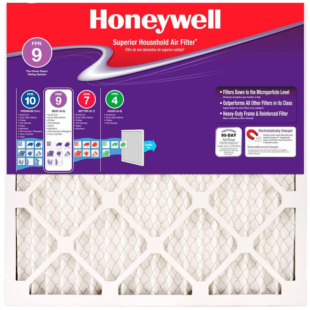 Honeywell 16 in. x 24 in. x 1 in. Superior Allergen Pleated FPR 9 ...