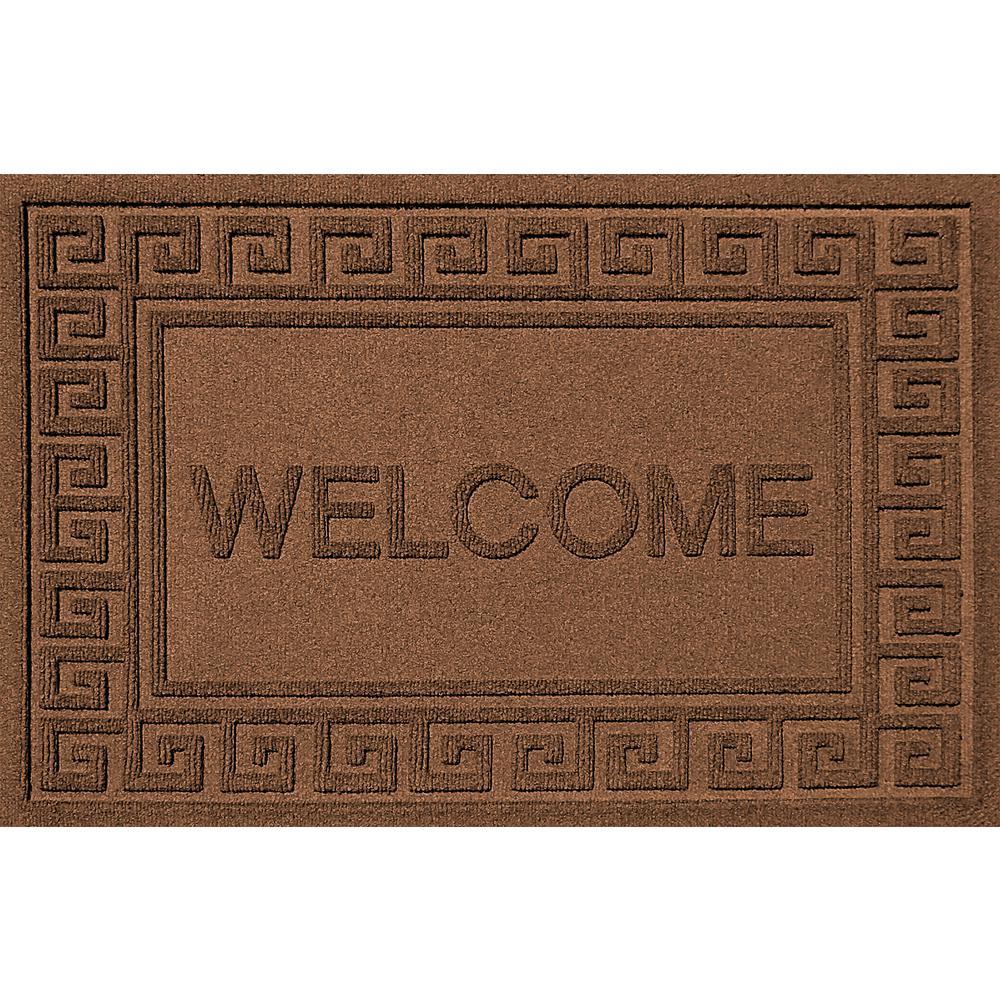 Merveilleux Greek Welcome Dark Brown 24 In. X 36 In. Polypropylene Door Mat