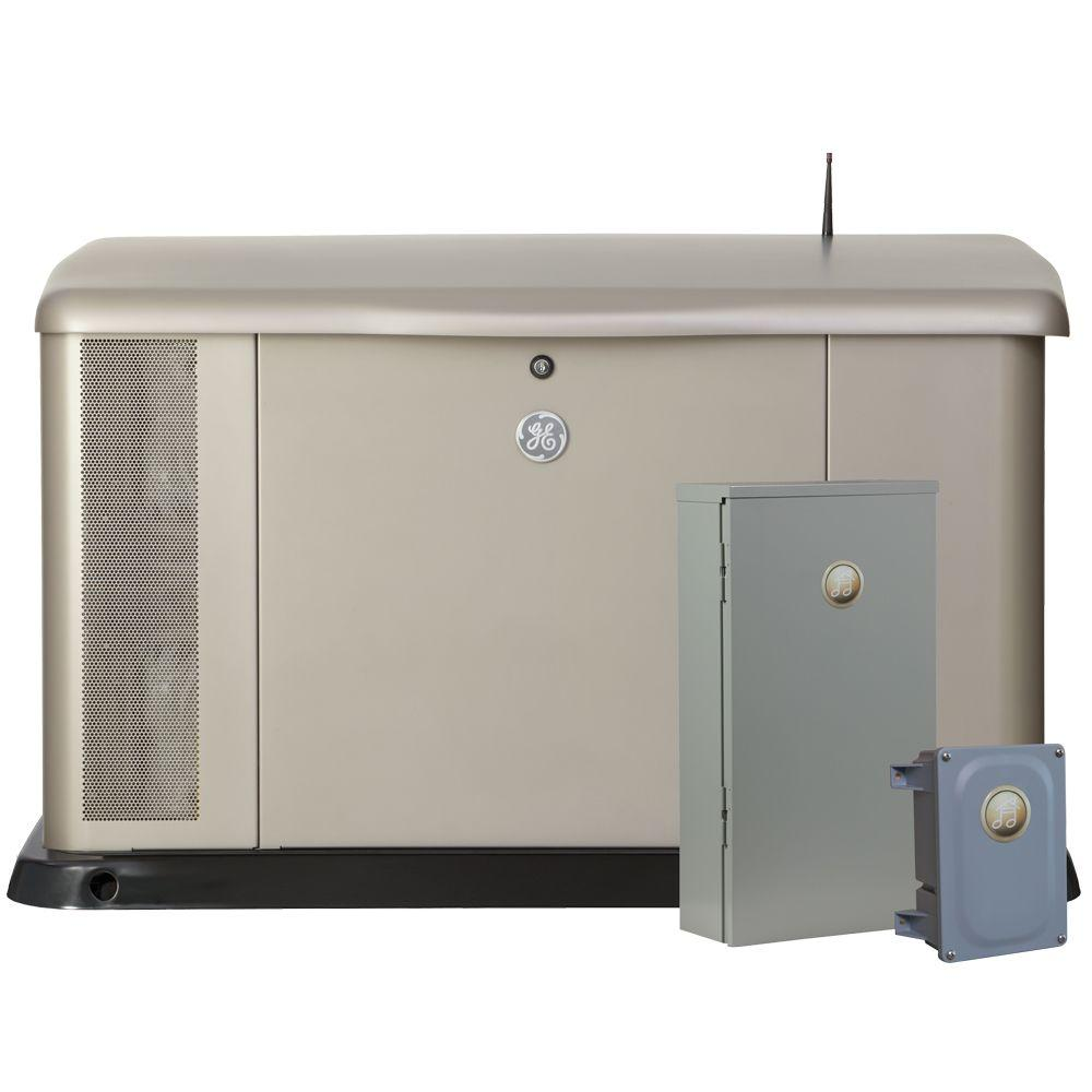 GE 20,000-Watt Air Cooled Home Generator System with Symphony II Whole House 200-Amp Automatic Transfer Switch