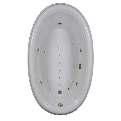 70 in. Acrylic Oval Drop-in Air and Whirlpool Bathtub in White
