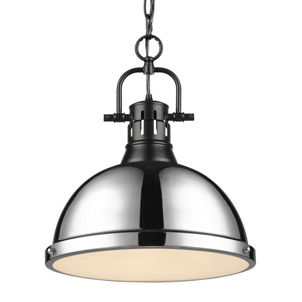 Duncan 1-Light Pendant with Chain in Black with a Chrome Shade