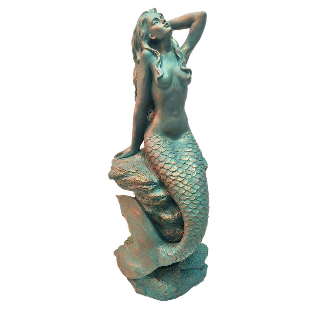"20 in. ""Sexy"" Mermaid Bronze Patina Sitting on Coastal Rock Beach"