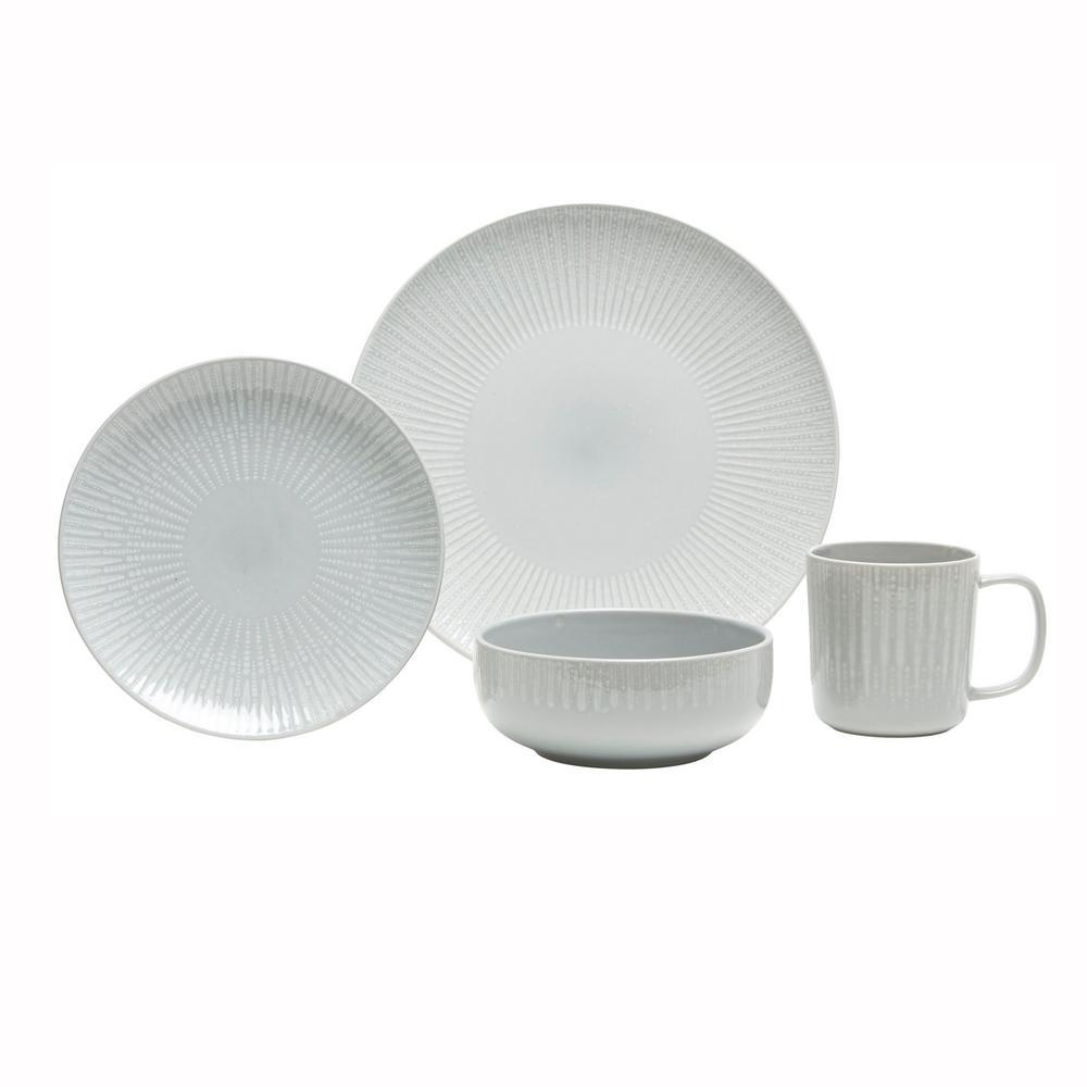 Optic  16-Piece Grey Dinnerware Set