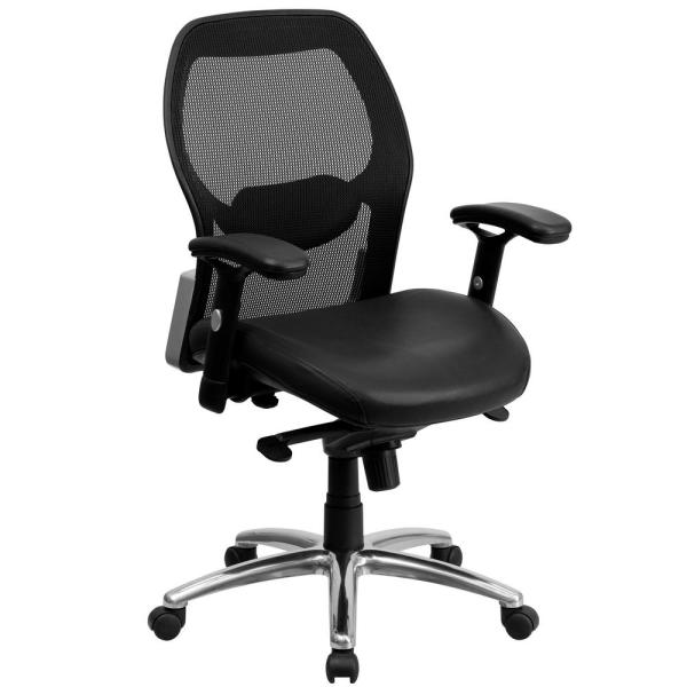 Flash Furniture Black Leather/Mesh Office/Desk Chair