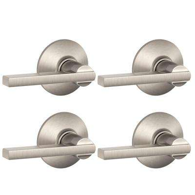 Latitude Satin Nickel Passage Hall/Closet Door Lever (4-Pack)