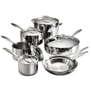 Click here to buy Tramontina Gourmet Tri-Ply Clad 12-Piece Stainless Steel Cookware Set with Lids by Tramontina.