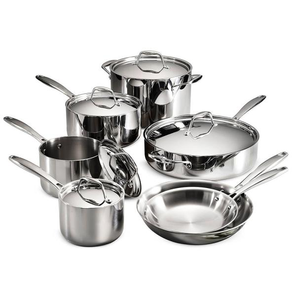 Tramontina Gourmet Tri-Ply Clad 12-Piece Stainless Steel Cookware Set with Lids