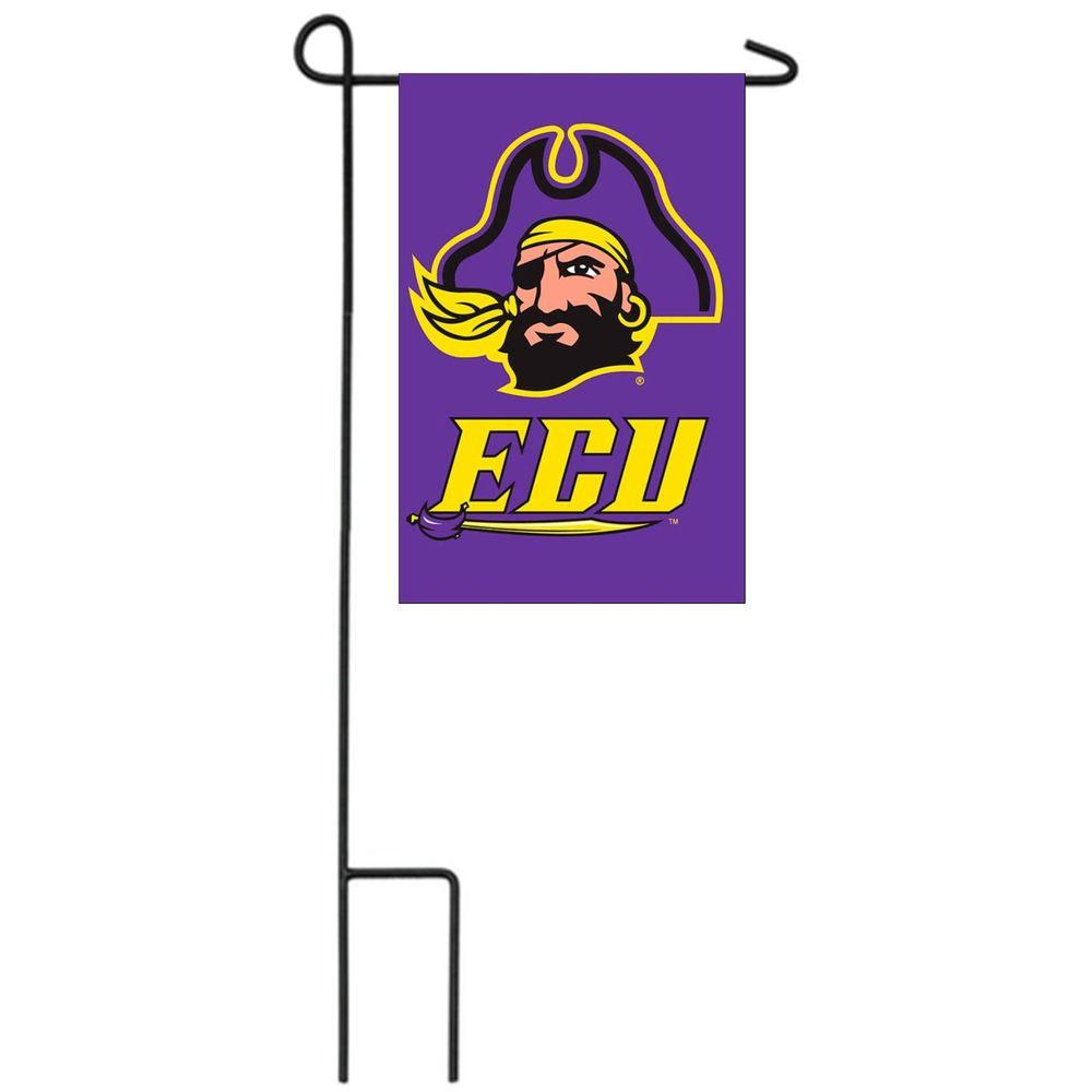 Team Sports America NCAA 12-1/2 in. x 18 in. Eastern Carolina 2-Sided Garden Flag with 3 ft. Metal Flag Stand