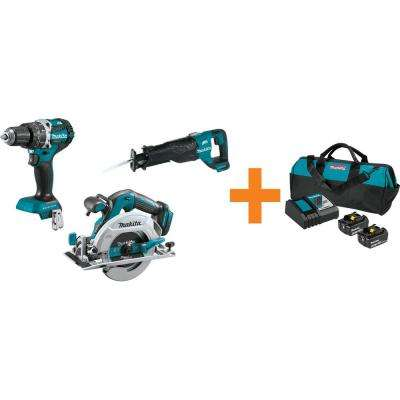 18V LXT 1/2 in. Brushless Hammer Driver-Drill, 6-1/2 in. Circ Saw and Recip Saw with bonus 18V LXT Starter Pack