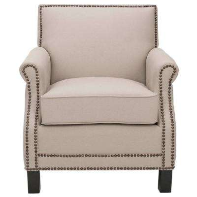 Easton Taupe/Java Linen Club Arm Chair