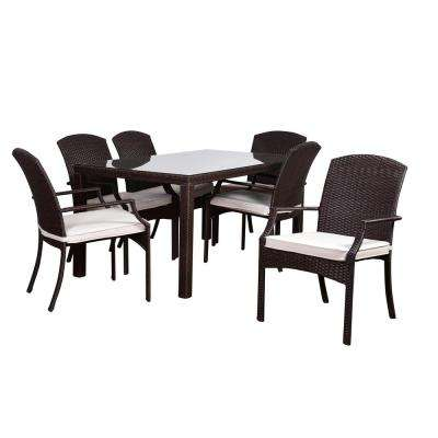 Atlantic Sanibel 7-Piece Rectangular Synthetic Wicker Patio Dining Set with Off-White Cushions