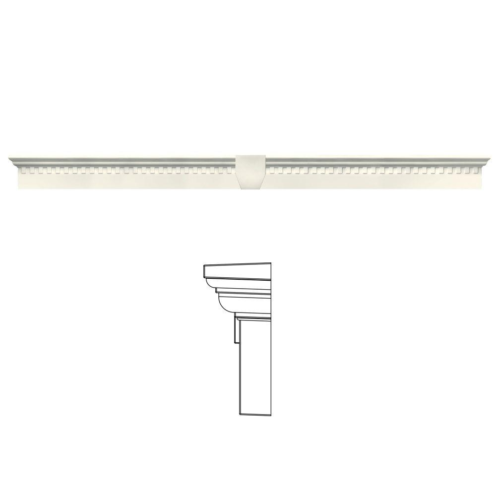 Builders Edge 6 in. x 73 5/8 in. Classic Dentil Window Header with Keystone in 034 Parchment