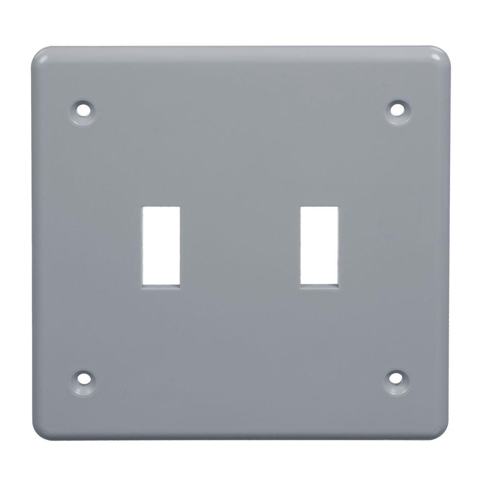 2-Gang Gray Weatherproof Switch Receptacle Box Cover (Case of 5)
