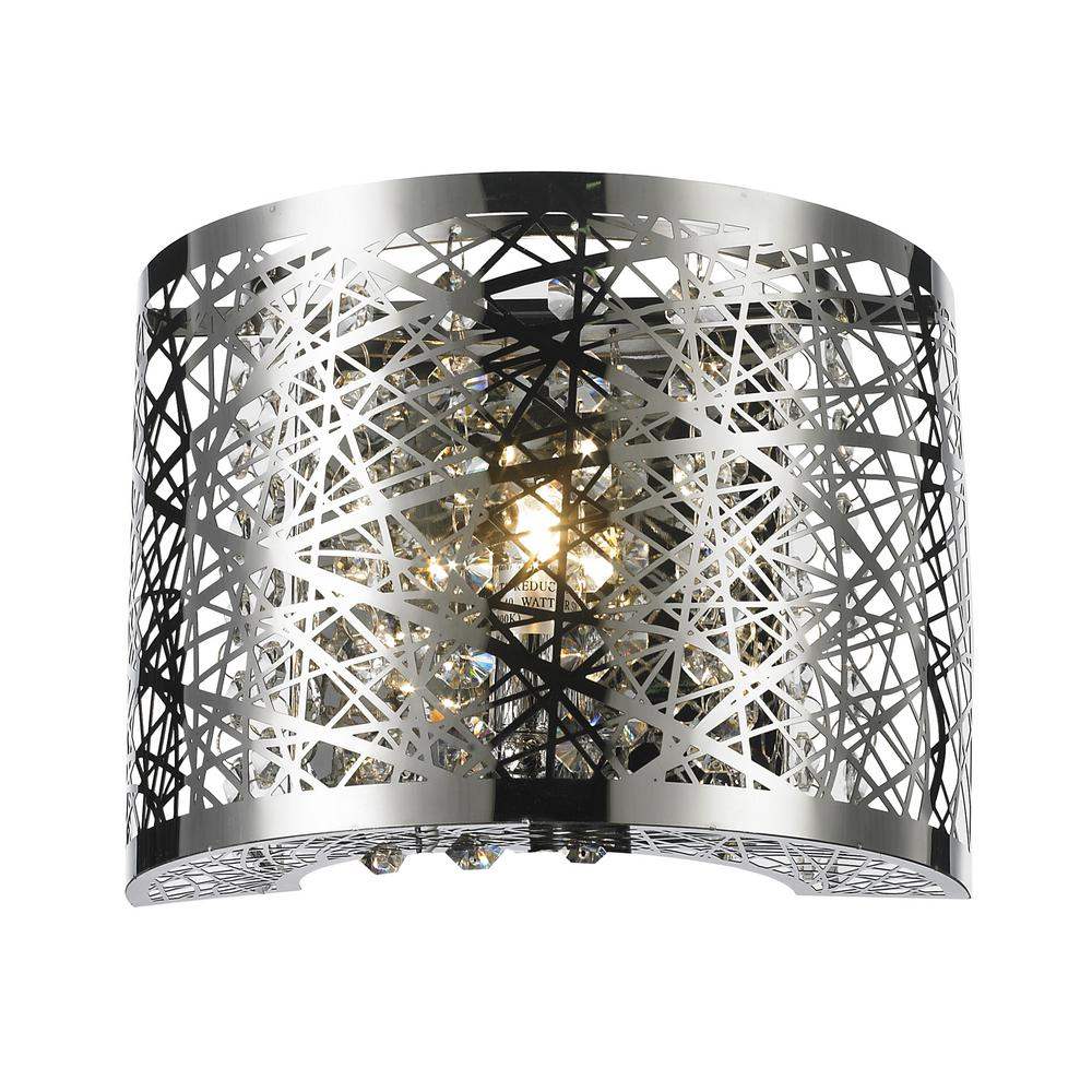 Worldwide Lighting Aramis Collection 1-Light Chrome Sconce with Clear Crystal