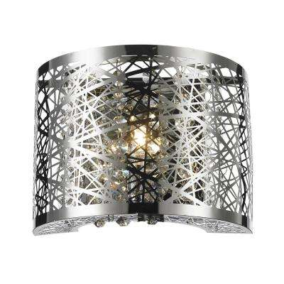 Aramis Collection 1-Light Chrome Sconce with Clear Crystal