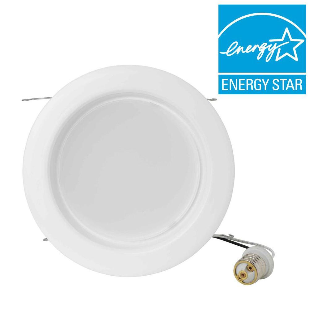 Eti 6 in. White Recessed LED Dimmable Lighting Flood Kit