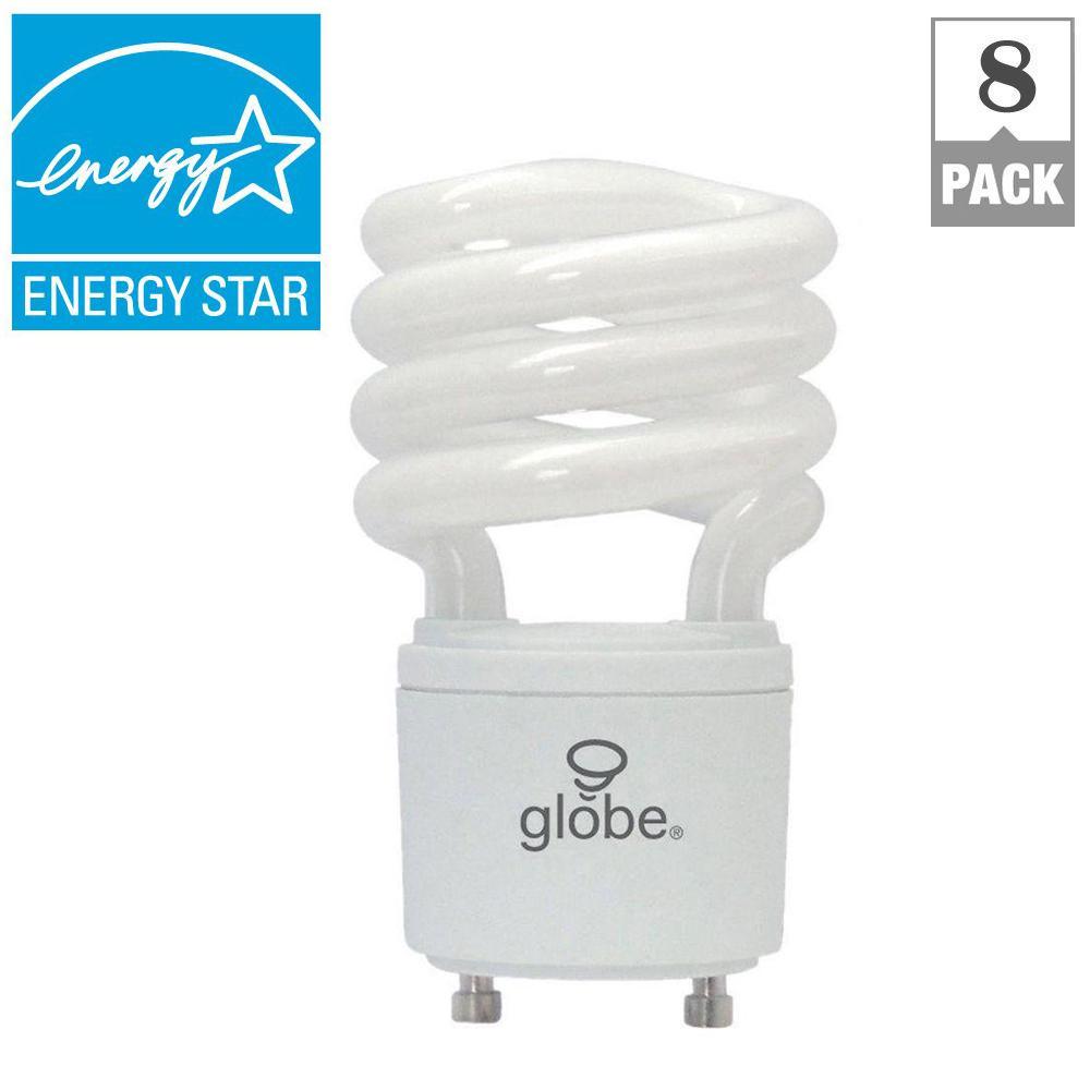 60W Equivalent Soft White (2700K) T2 GU24 Base Spiral CFL Light Bulb - White (8-Pack)