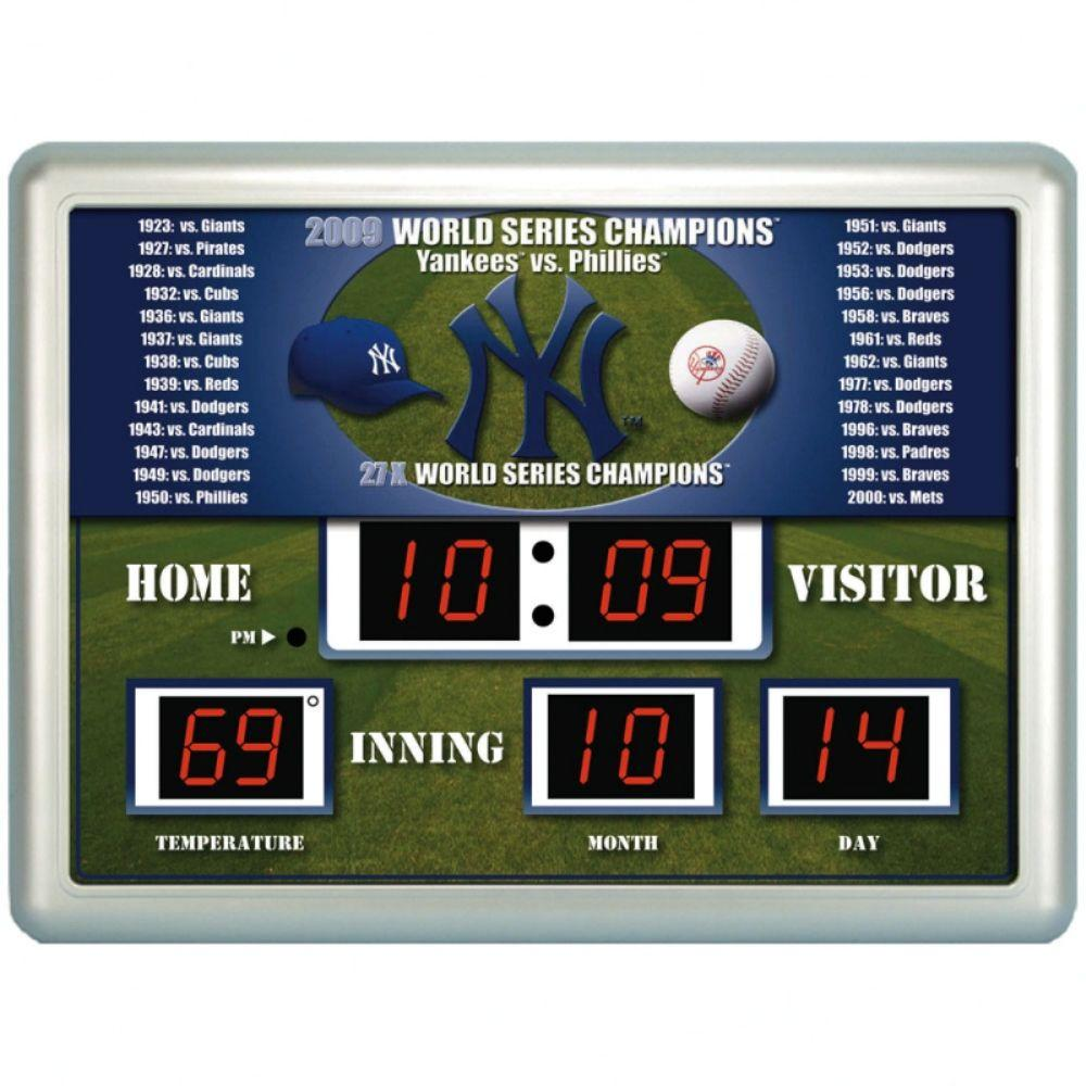 null New York Yankees 14 in. x 19 in. Scoreboard Clock with Temperature
