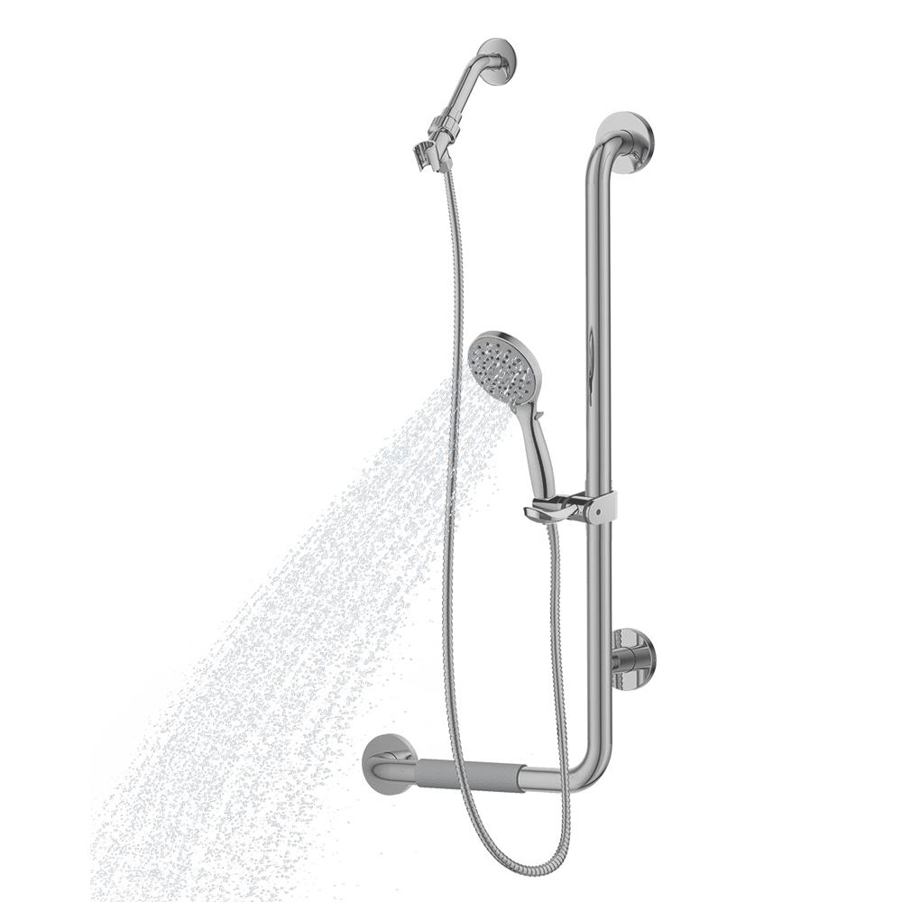 ErgoSlideBar Left 5-Spray Wall Bar Shower Kit In Brushed Stainless Steel