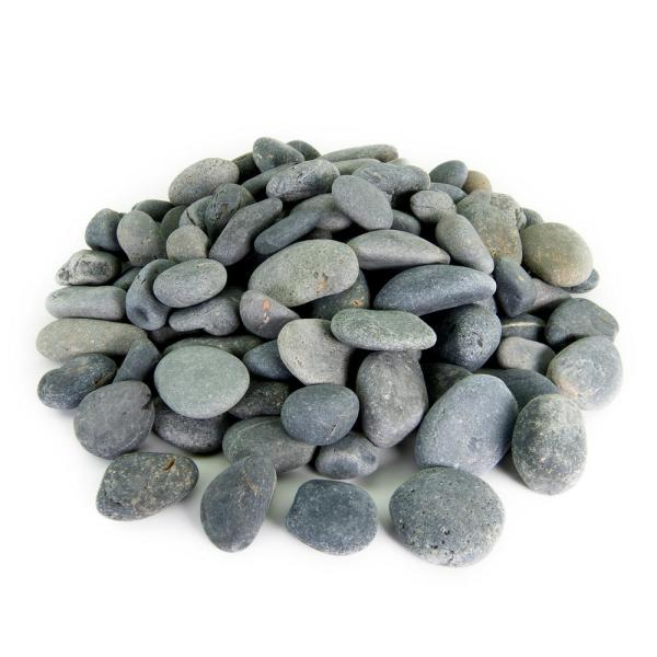 0.50 cu. ft. 3 in. to 5 in. Black Mexican Beach Pebble Smooth Round Rock for Gardens, Landscapes and Ponds