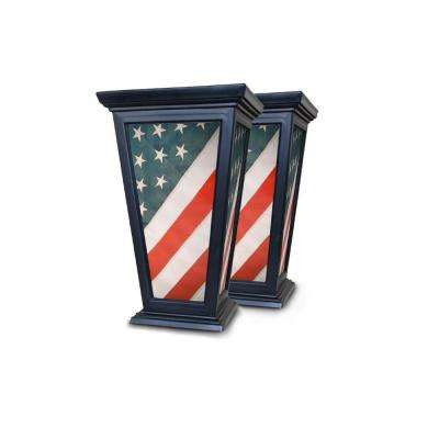 Tall 15 in. x 24 in. Black Plastic Patriotic American Flag Planter (2-Pack)