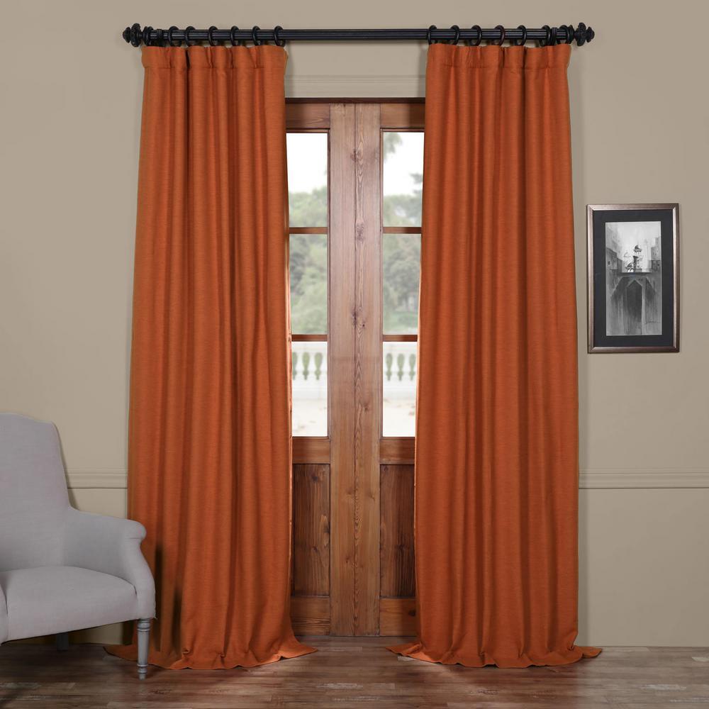 Semi-Opaque Persimmon Bellino Blackout Curtain - 50 in. W x 84 in. L (Panel)