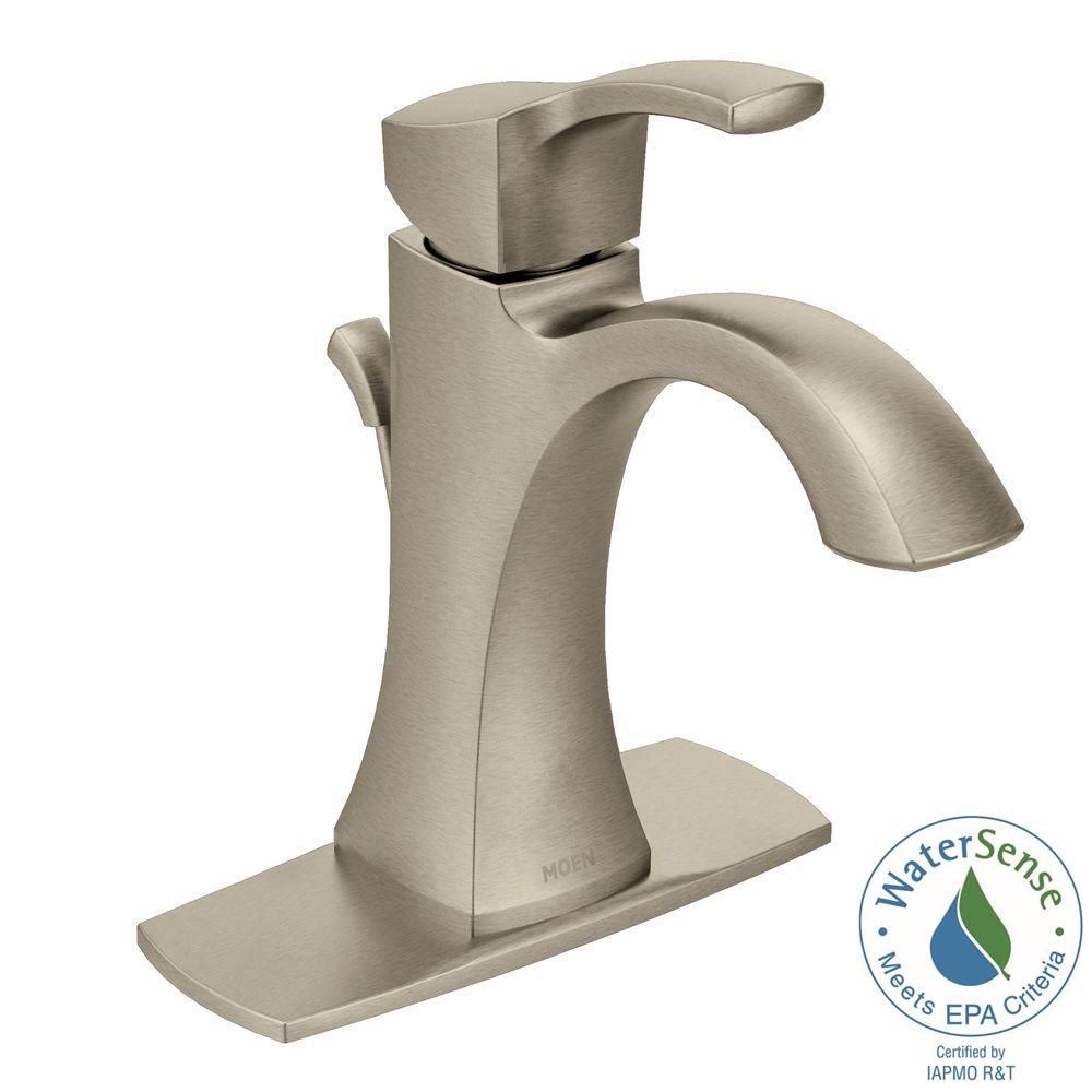 MOEN Voss Single Hole 1-Handle High-Arc Bathroom Faucet in Brushed Nickel