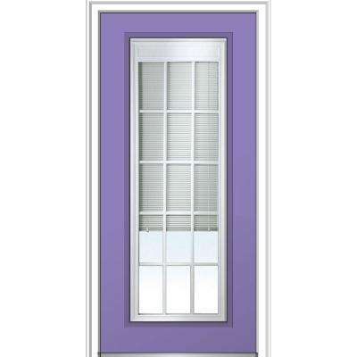 36 in. x 80 in. Internal Blinds GBG Low-E Glass Left-Hand Full Lite Clear Painted Fiberglass Smooth Prehung Front Door