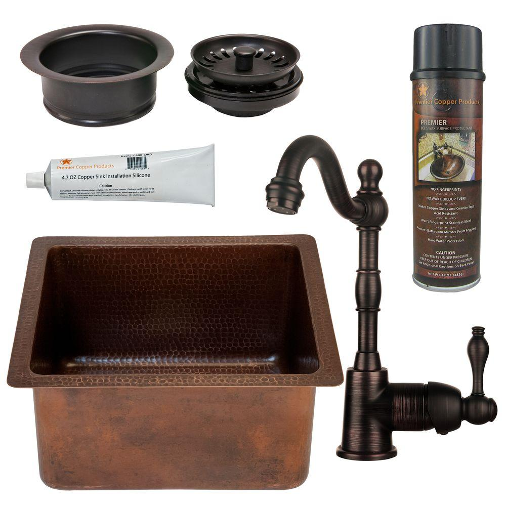 Premier Copper Products All-in-One Dual Mount Copper 16 in. 0-Hole Rectangular Bar/Prep Sink in Oil Rubbed Bronze