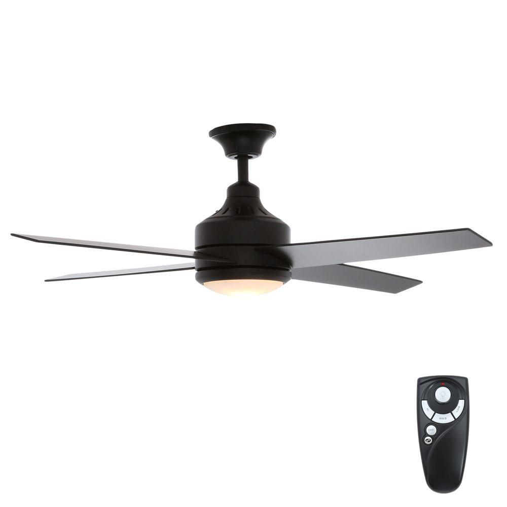 Hampton Bay Mercer 52 in. Indoor Matte Black Ceiling Fan with Light Kit and Remote Control