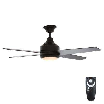 Mercer 52 in. Indoor Matte Black Ceiling Fan with Light Kit and Remote Control
