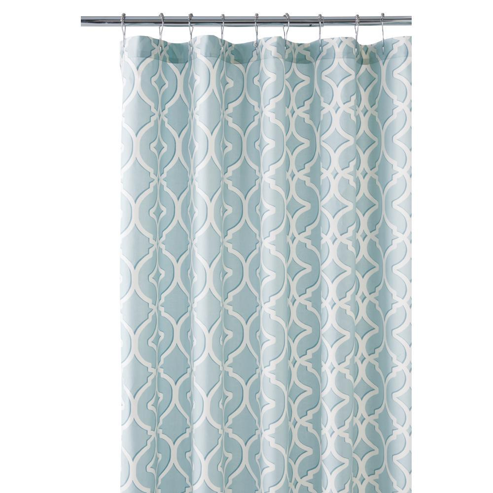 Home decorators collection nuri 72 in shower curtain in seaglass 9848600340 the home depot Home decorators collection valance
