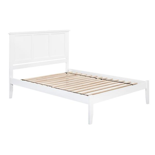 Atlantic Furniture Madison White Queen Platform Bed with Open Foot Board