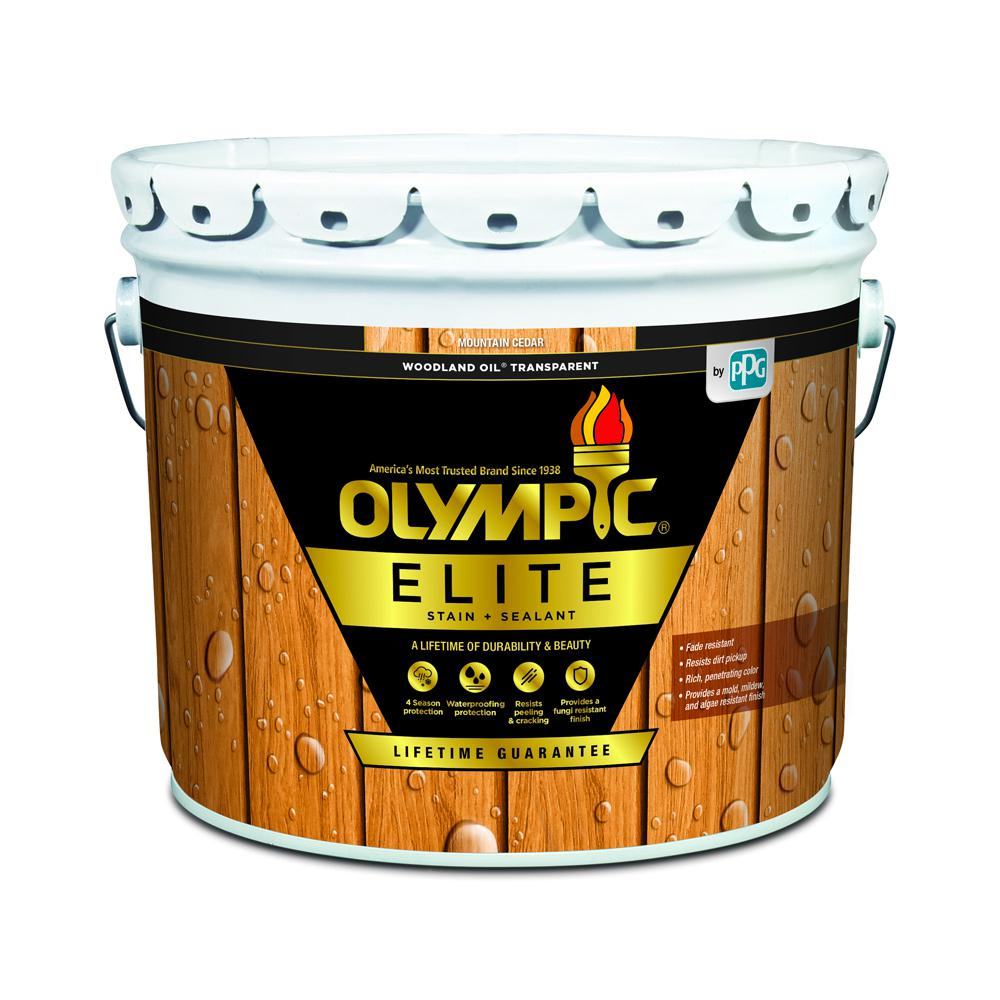 Olympic Elite 3 gal. Mountain Cedar Woodland Oil Transparent Advanced Exterior Stain and Sealant in One
