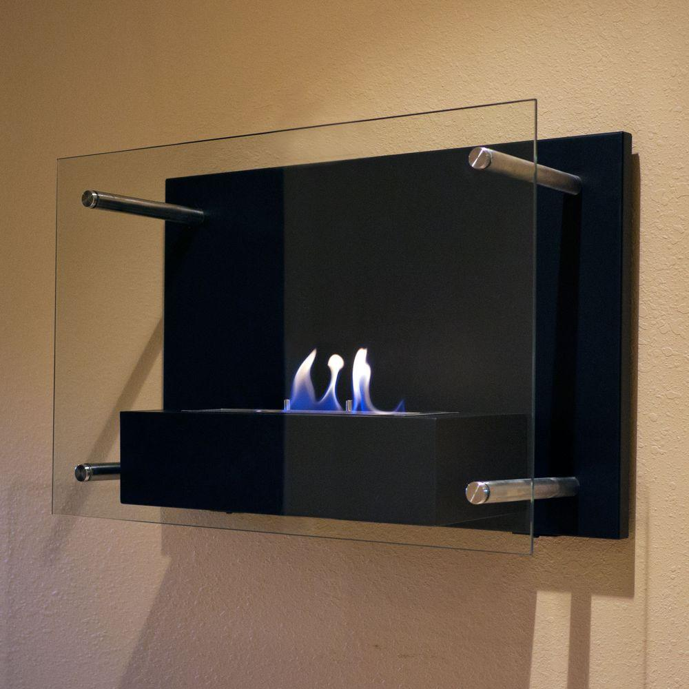 Nu Flame Radia 236 In Wall Mount Decorative Bio Ethanol Fireplace Matte Black NF W4RAA