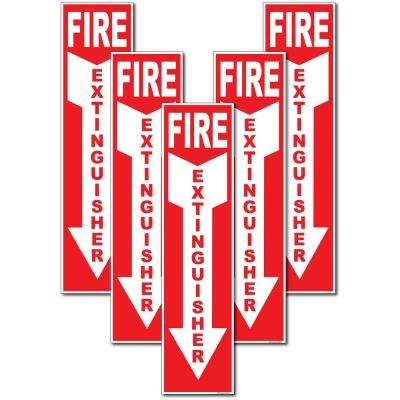4 in. x 12 in. Fire Extinguisher Sign Stickers (5-Pack)